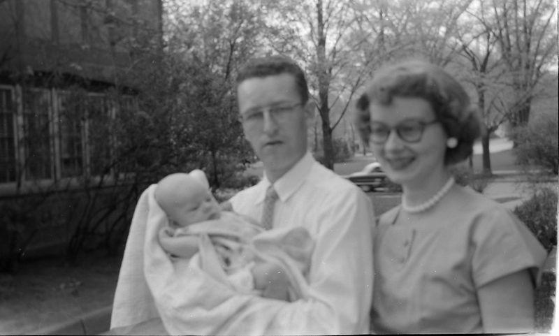 #175 Robert & Peggy & baby Kathy Stebbins 109 N Walnut June'56