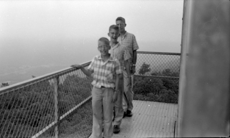 #217 Winston-Malcolm-Kenyon Stebbins atop Magazine Mt Ark 21 June'58