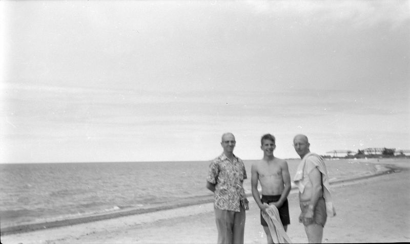 #181 George&Winston&Rowland Stebboins on George's beach Ashtabula OH 15 June'58