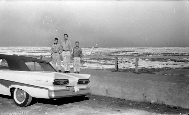 #166a Winston& Malcolm&Kenyon Stebbins at Clevland lake shore 3 April'58