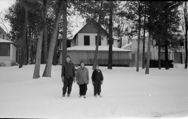 #120 Winston&Malcolm&Kenyon Stebbins at Buckles Cottage Wequetonsing MI Jan'58