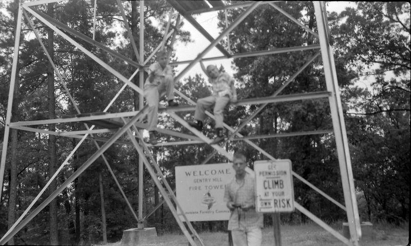 #218 Winston-Malcolm-Kenyon Stebbins atop Gentry Hill Firetower 20 June'58