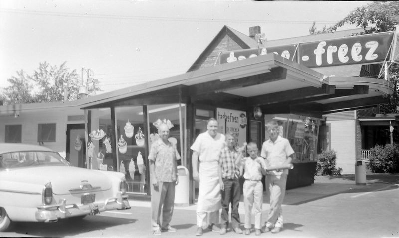 #179 Winston-Malcolm-Kenyon George & Richard Stebbins at Dick's Tastee-Freez shop 15 June'58