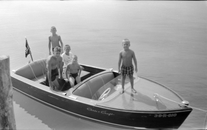 #107 Win-Mal-Ken Stebbins & Barry & Chris Searles in Sal-Lyn Roaring Brook Dock Sept'57