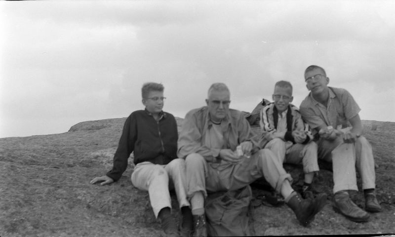 #196 Winston-Malcolm-Kenyon Stebbins & Dave Bishop atop Mt Marcy 15 July'59