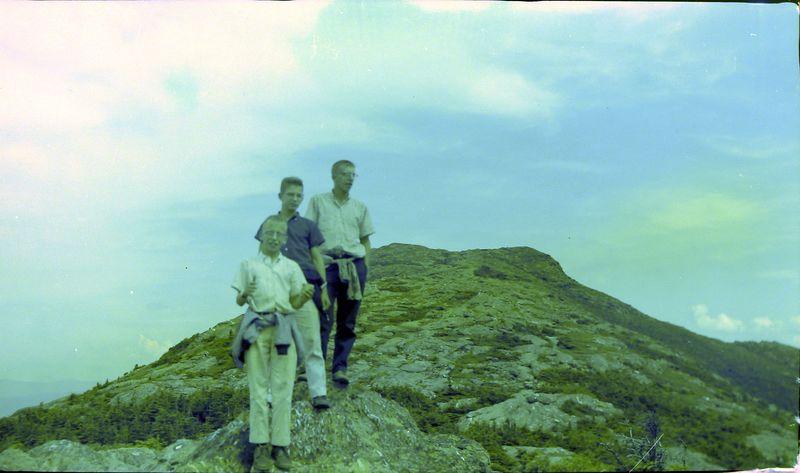 #192 Winston-Malcolm-Kenyon Stebbins atop Mt Mansfield NH 14 July'59