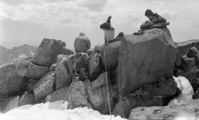 #185 Kenyon & maybe Winston or Malcolm & Al Read atop Gannett Peak Wyo 27 June'61