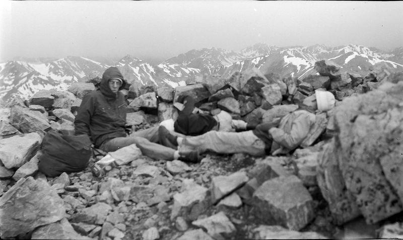 #49 Winston-Malcolm-Kenyon Stebbins atop Mt Elbert Colo 5 July'60