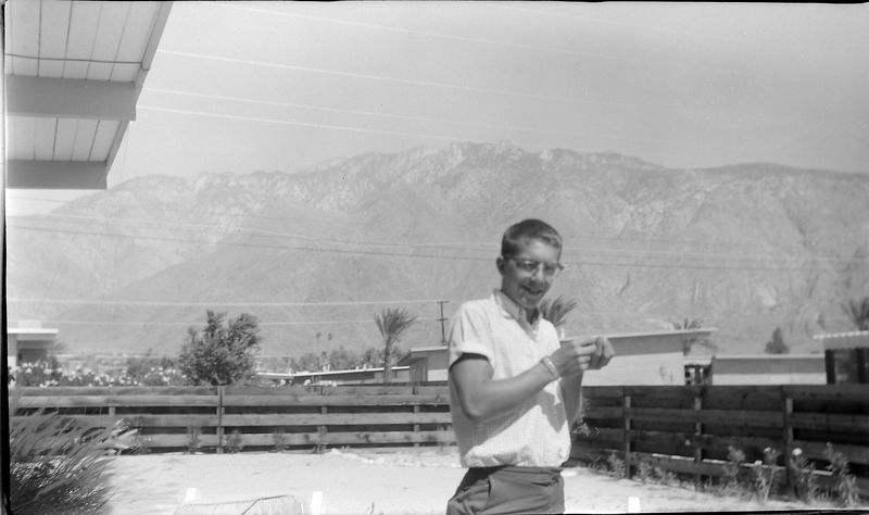 #159 Winston Stebbins at (maybe Hallie) Wright's Home Palm Springs Calif 4 July'62