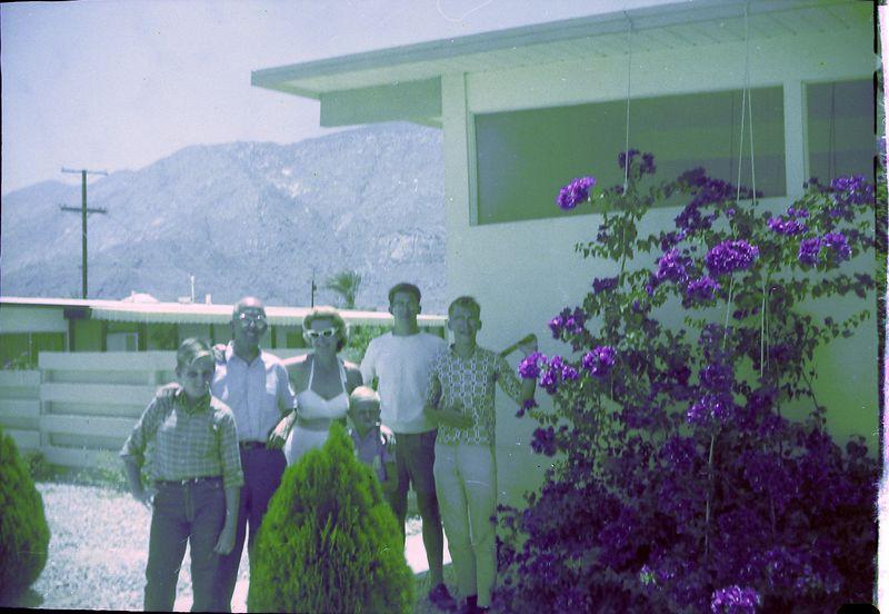 #158 Wright's home PalmSpringsCalif Bill&Jeff&Mrs Wright&Winston-Malcolm-KenyonStebbins 4July'62