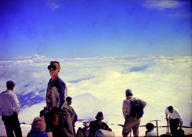 #38 Kenyon Stebbins & Guide atop Mt Rainer Wash 14 July'62