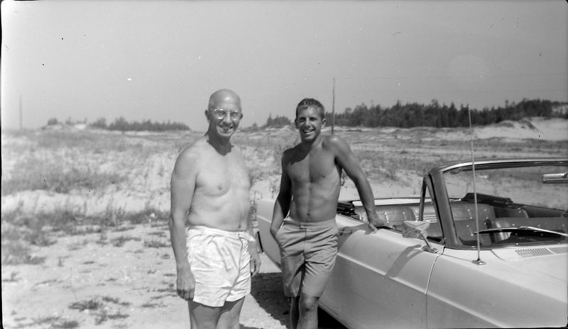 #75 Rowland & Winston Stebbins at beach undated about 1965-66