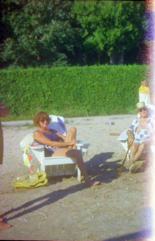 #132 Mrs Vauderlaus & Mrs Breed Roaring Brook dock beach Aug'69