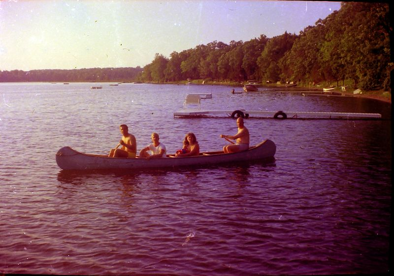 #132-139 group Winston-Kenyon-Rowland Stebbins & who in canoe Halfmoon Lake Cottage May-June'70