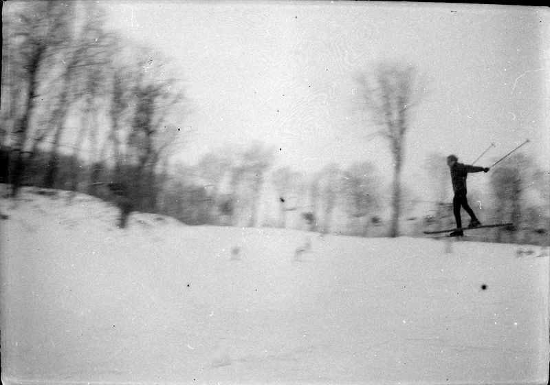 #124-131 group maybe Kenyon Stebbins skiing - Spread-Eagle Fall-March 1970