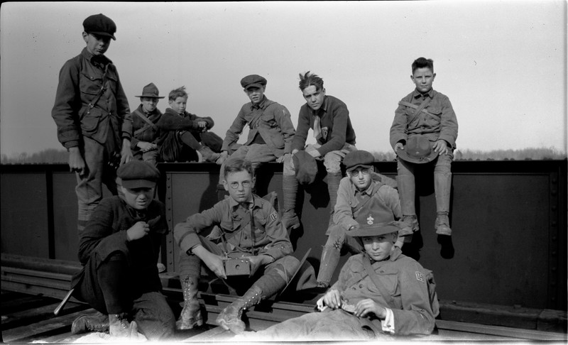 #88  Funny George Cooley Doug Burr Flip Bing Ruly Dyer of Boy Scout Troop 15 on steel railroad bridge 1920
