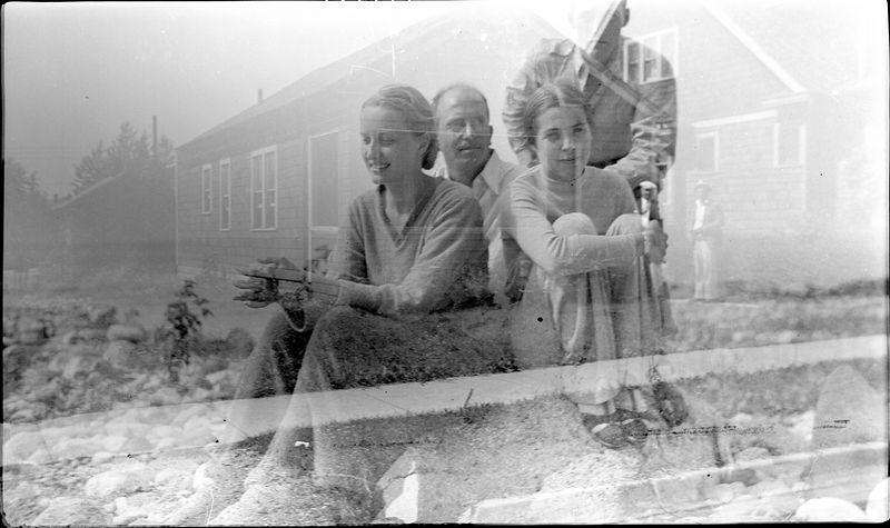 #160 CRS & Elsie Crowl & J E Kelly at Roaring Brook (double exposure)