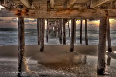 sunrise; nags head pier; hdr