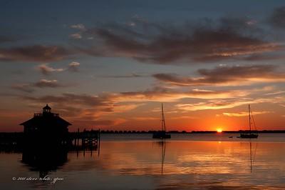 sunrise; manteo harbor