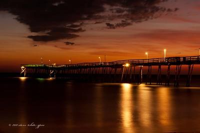 sunrise; avalon fishing pier; kill devil hills
