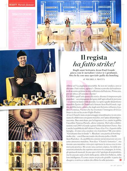 CHANEL Chance Eau Vive 2015 Italy (article Vanity Fair) 'Il regista ha fatto strike!'