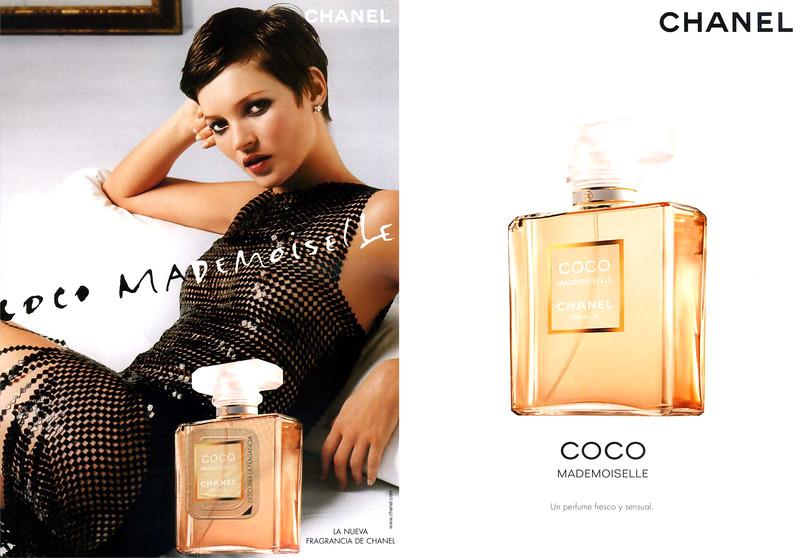 CHANEL Coco Mademoiselle  2002 Spain (recto-verso with scent sticker) 'Descubra la fragancia - La nueva fragancia de Chanel - Un perfume fresco y sensual'