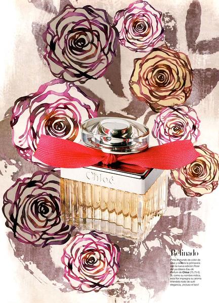 CHLOÉ Eau de Parfum Rose Edition 2011 Spain (advertorial Harper's Bazaar) ILUSTRATOR: Alicia Malesani