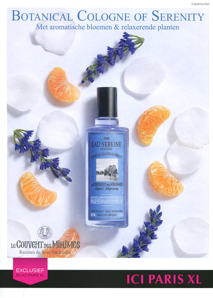 LE COUVENT DES MINIMES Eau Sérène 2016 Belgium (Ici Paris XL stores) text in English & Dutch <br /> 'Botanical cologne of serenity – Met aromatische bloemen & relaxerende planten'
