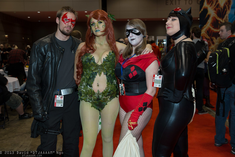Red Hood, Poison Ivy, Harley Quinn, and Catwoman