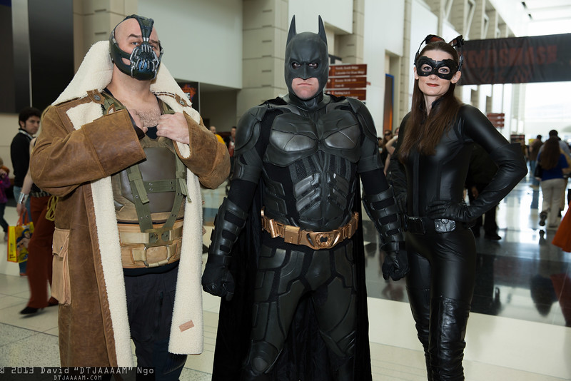 Bane, Batman, and Catwoman