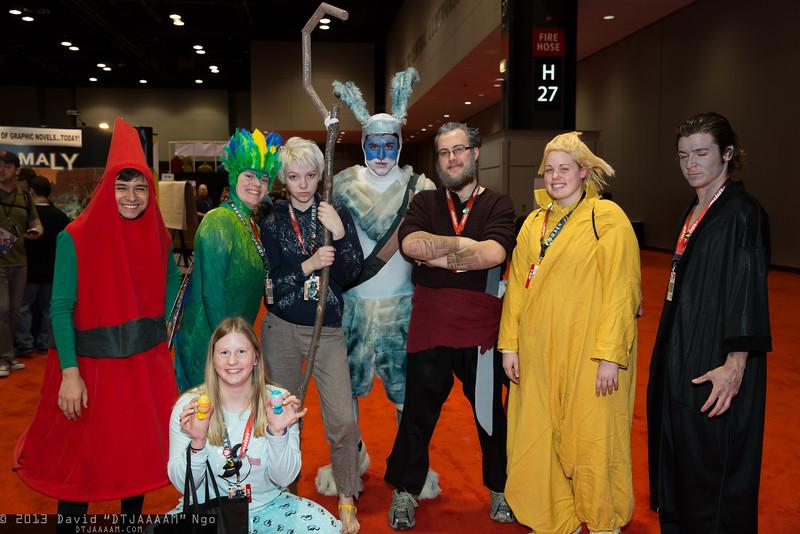 Elf, Tooth, Jack Frost, Bunnymund, Sandman, Pitch Black, and Sophie Bennett