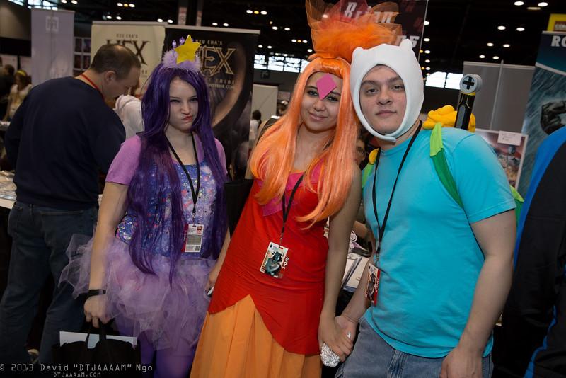 Lumpy Space Princess, Flame Princess, and Finn