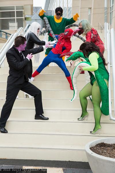 Purple Man, Black Cat, Dr. Octopus, Spider-Man, Carnage, and Princess Python