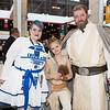 R2-D2, Rey, and Luke Skywalker