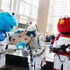 Cookie Monster, Mandalorian, and Elmo