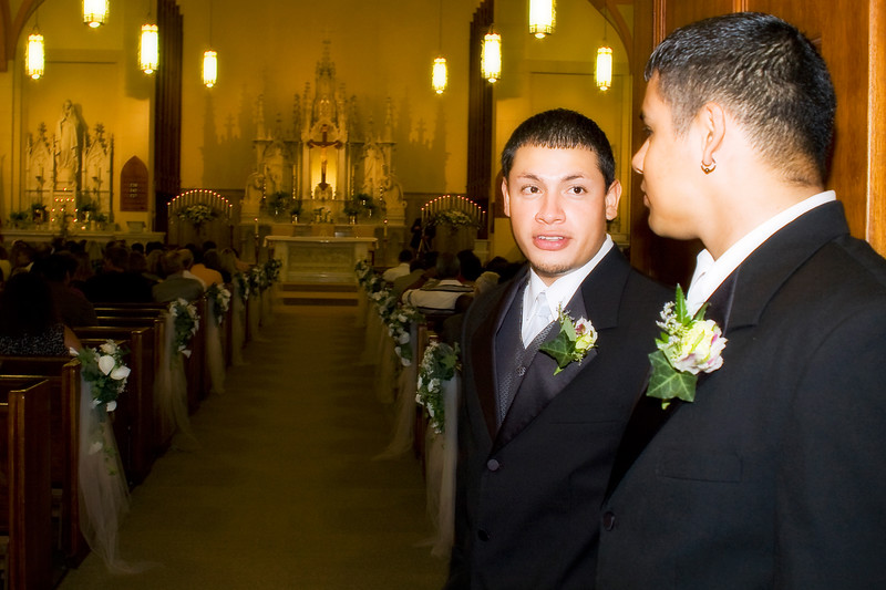 Groomsmen checking out the church
