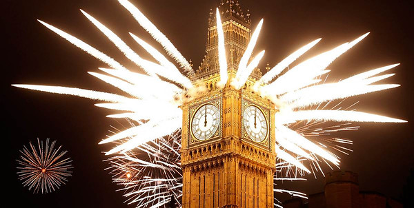 "(From newsfeed) Fireworks explode over the Houses of Parliament, including St Stephen's Tower which holds the bell known as Big Ben as London celebrates the arrival of New Year's Day, Jan. 1, 2012.  Alastair Grant / AP (from MSNBC ""New Year's Around the World"")"