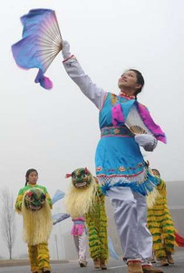 Jessica Luo practices the Dance of the Golden Snake with the Chinese American Community Center Folk Dance Troupe. They will perform in the presidential inauguration parade Jan. 21.