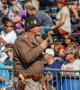 General Patton delivering a rousing speech to the crowd.