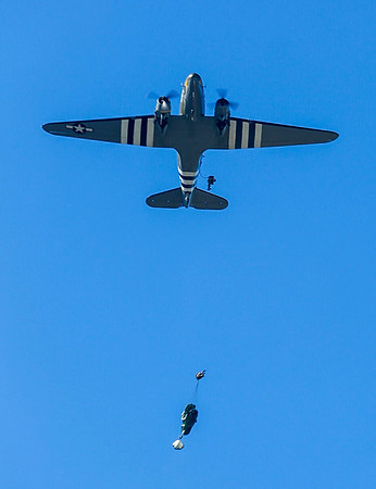 """Troopers exit C-47 """"That's All Brother""""."""