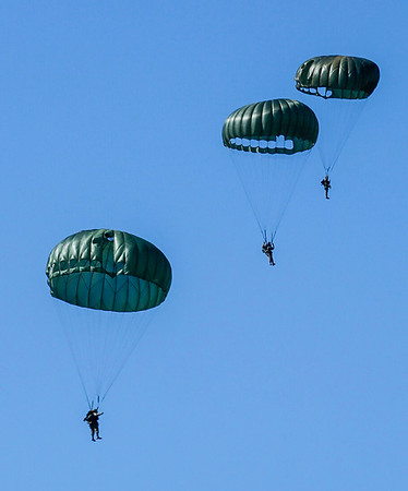 Paratroopers under canopy.  CAF Wings Over Dallas 2018.