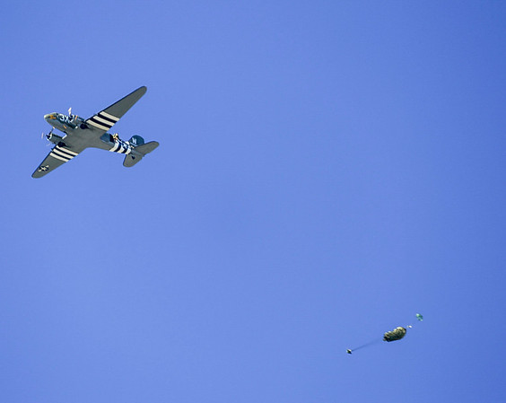 "Paratroopers exiting C-47 ""That's All Brother"" at CAF Wings Over Dallas 2018."