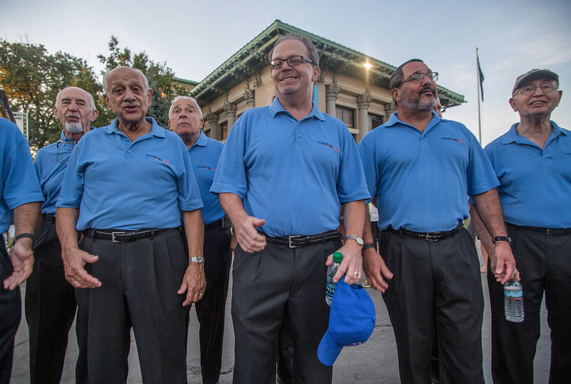 August 29, 2016. The Harmony Katz, Syracuse's barbershop chorus, sing in front of a crowd at The Great New York State Fair. The Harmony Katz raise funds to support the Food Bank of  Central New York. <br /> The Great New York State Fair held in Syracuse was open from August 25 to September 5. Nearly one million people visit over the 12-day celebration each year.