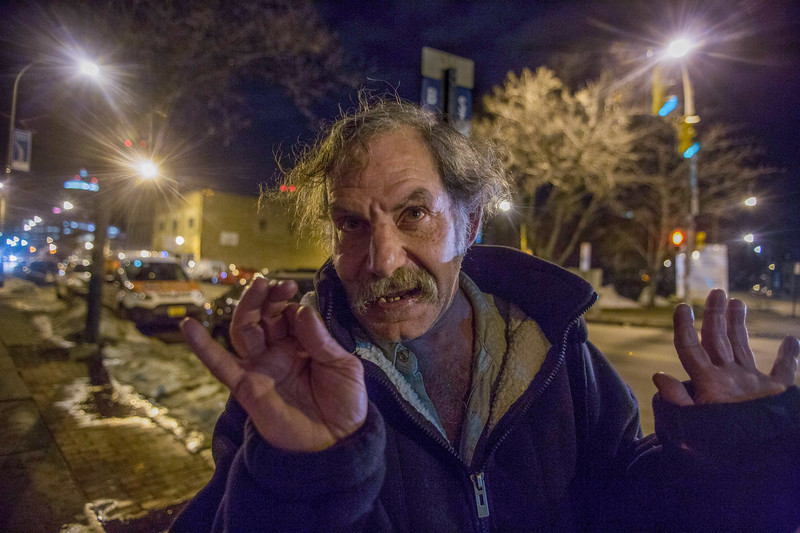 February 28, 2016. Bradley Loce, 59, talks about his favorite movie Frankenstein, 1957, directed by Terence Fisher. Bradley has always wanted to be an entertainer and will act out scenes from the movie on the street in Rochester, N.Y.<br /> Bradley is homeless and regularly wonders around the street corner next to the Bug Jar bar.