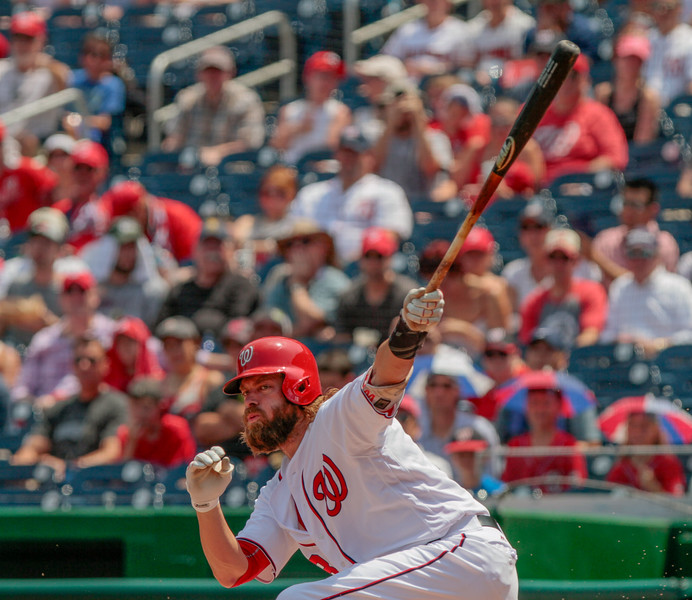 July 24, 2016. Jayson Werth hits a foul ball. Washington Nationals play San Diego Padres at Nationals Park, Washington D.C.