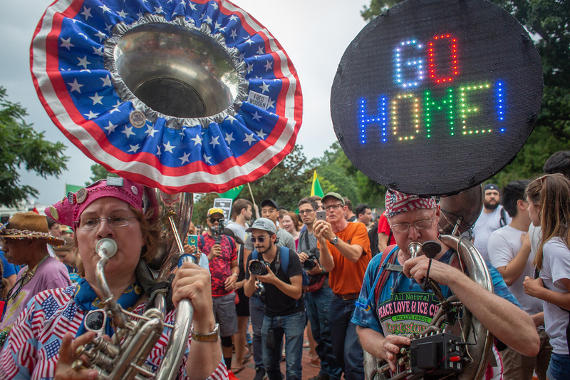 Washington, DC - August 12: Counter protesters gather around the White House to counter a white nationalist rally, Sunday August 12, 2018.