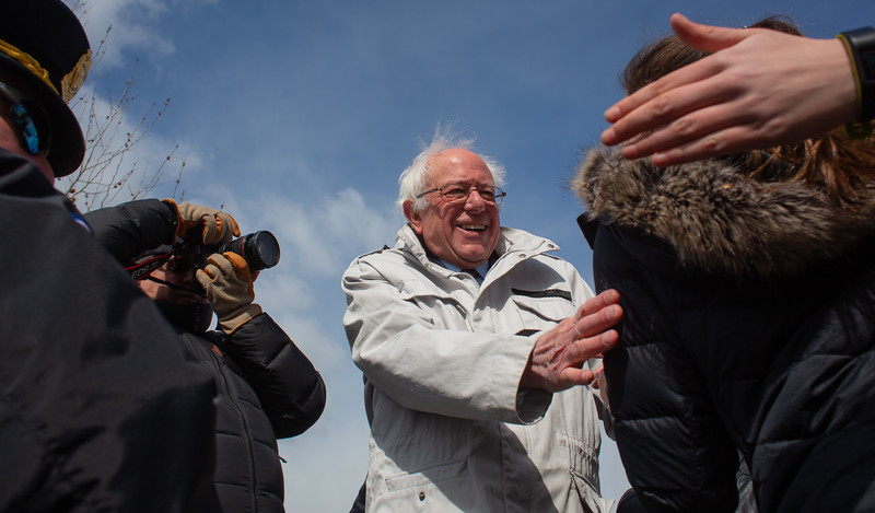 Washington, D.C. : 3/14/18  <br /> Senator Bernie Sanders meets with protesters outside the Capitol where thousands of students gatherd to have their voices heard on the one month anniversary of the Parkland High School shooting.