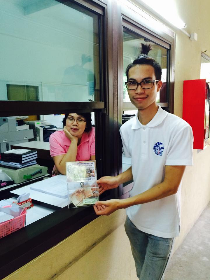 Placed donation box at photocopy shop in Chiang mai university
