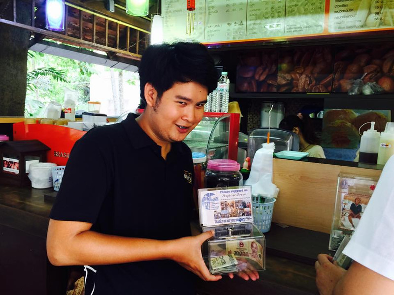 Placed donation box at coffee shop in Chiang Mai University