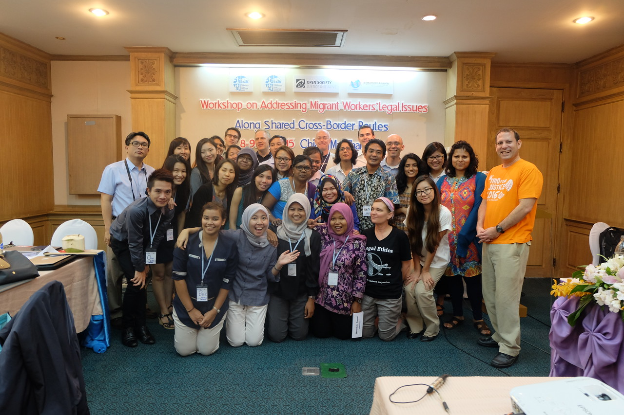 The participants assemble for a group photo at the conclusion of a great workshop. The participants included citizens of many countries who came together to share their experiences on how to best protect migrant workers.
